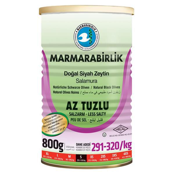 Picture of MARMARABIRLIK Low Salt Black Olives 800g
