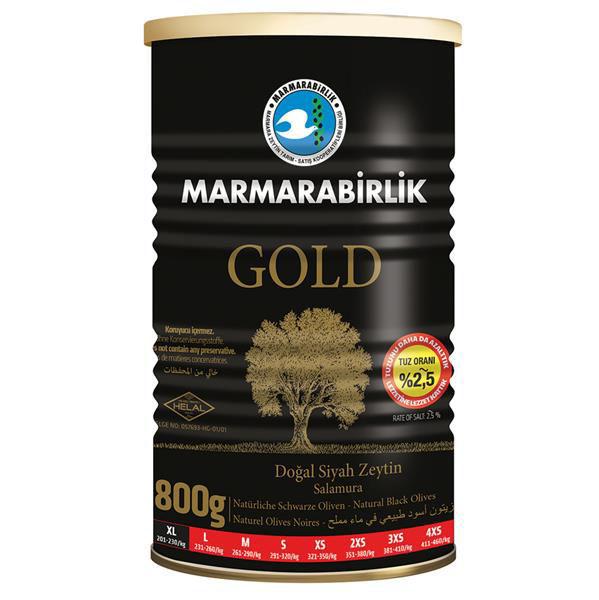 MARMARABIRLIK Gold Az Tuzlu Iri Siyah Zeytin 800g resmi