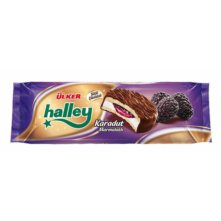 Picture of HALLEY Marshmallow Sandwich Biscuits w/ Mulberries 300g