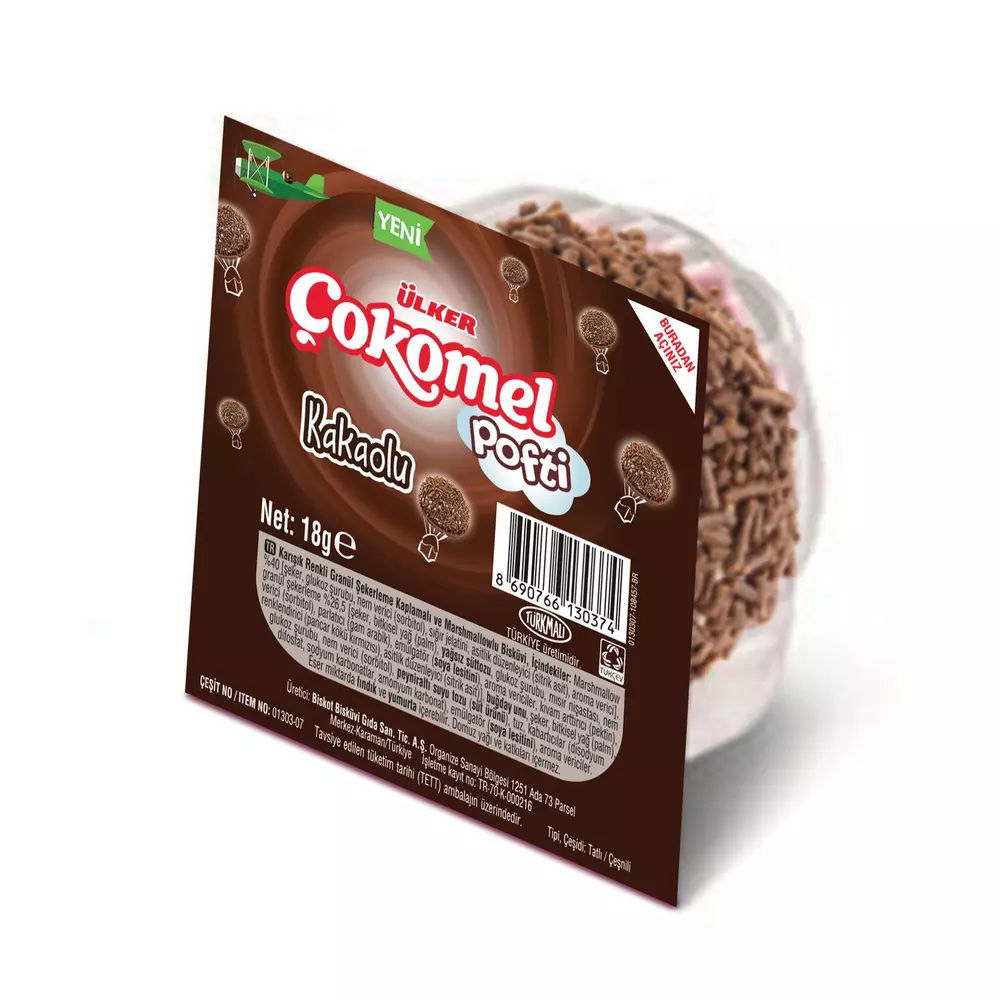 Picture of ULKER Pofti Cocoa Sprinkled Marshmallow Biscuits 6 x 18g